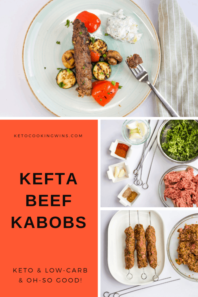 a pinterest pinnable image of kefta beef kabobs on a plate with grilled vegetables