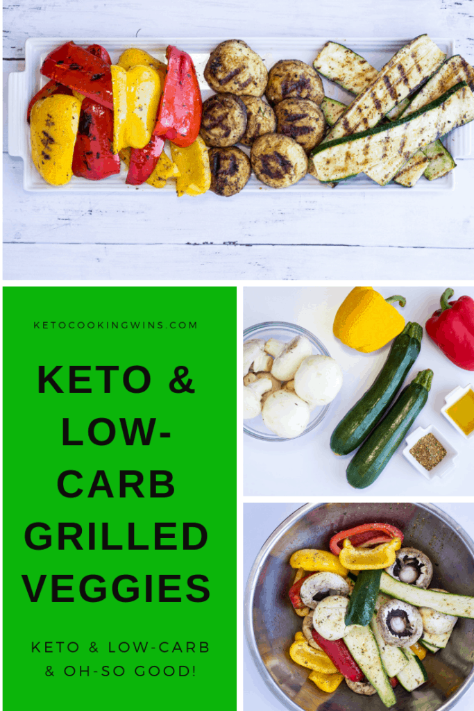 a pinnable image for keto grilled veggies