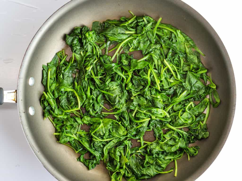 wilting the spinach to make this keto recipe