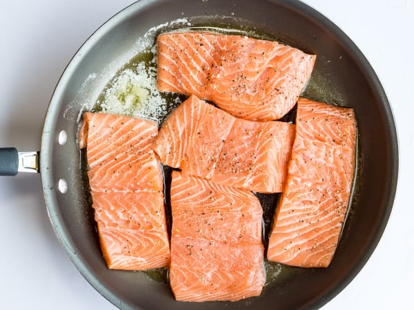 salmon fillets in pan