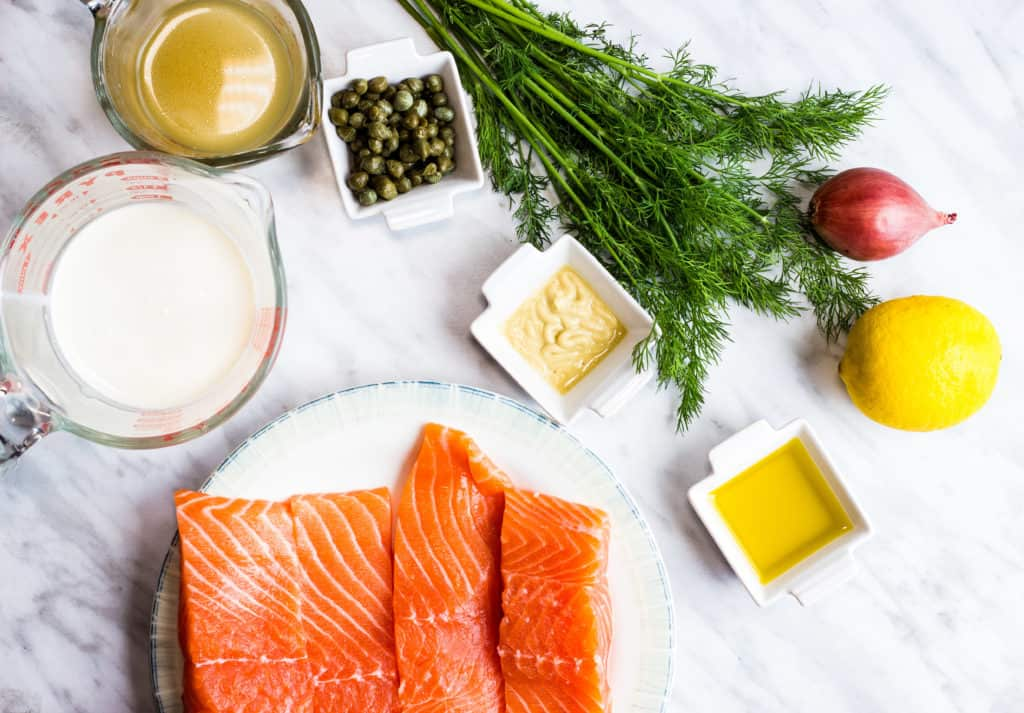 salmon, dill, oil, mustard, capers, chicken stock, salmon to make keto salmon with lemon dill sauce