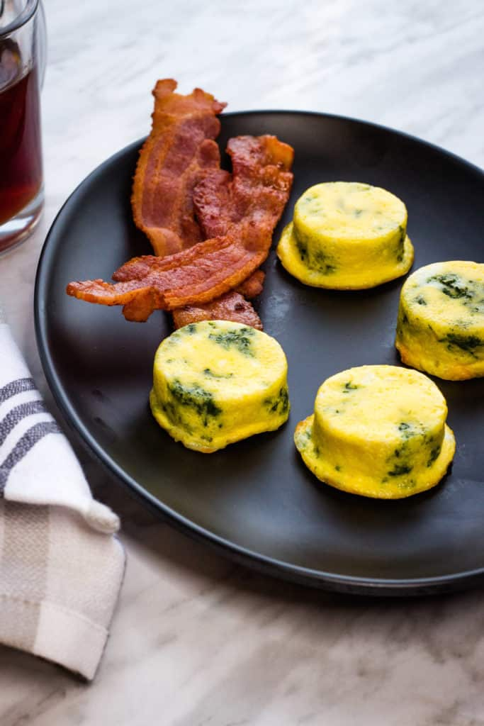 keto egg bites with spinach and cheese