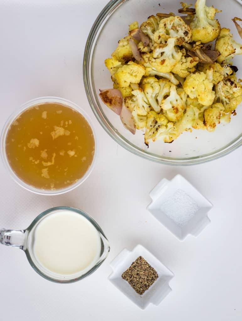 roasted veggies, cream, broth, and seasoning