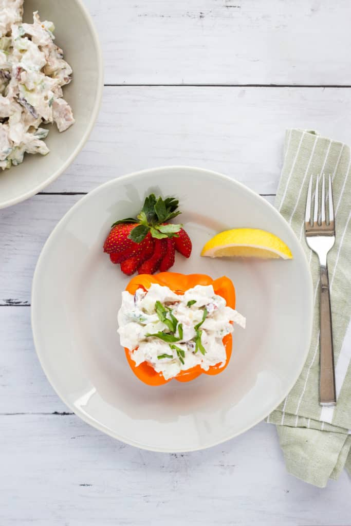 southern chicken salad served in a bell pepper