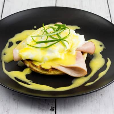 keto eggs benedict on a plate