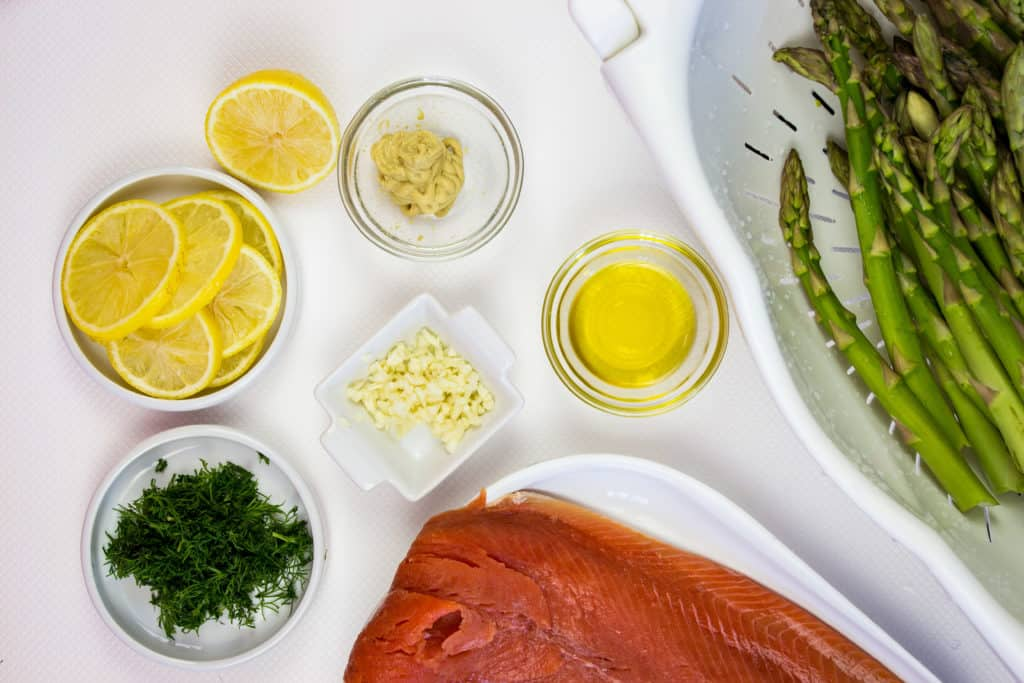 keto sheet pan salmon ingredients prepped