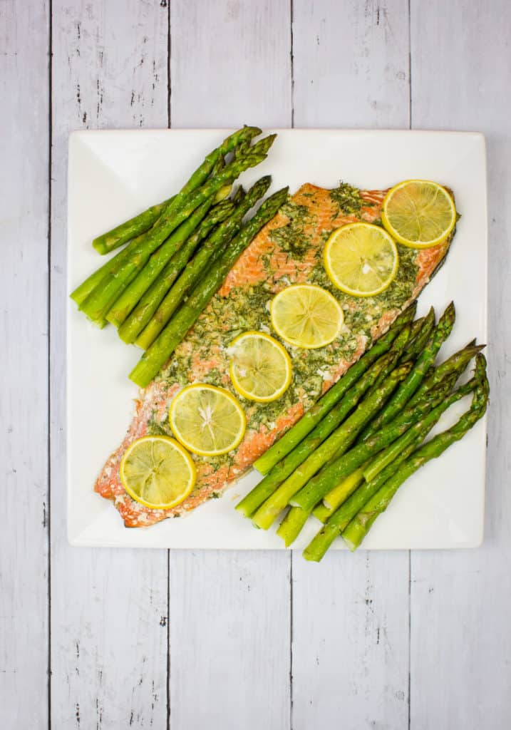 keto sheet pan salmon & asparagus on a platter