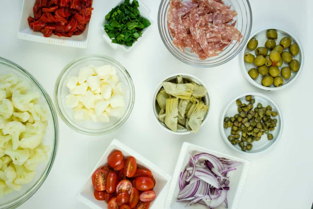 keto antipasto salad ingredients prepped