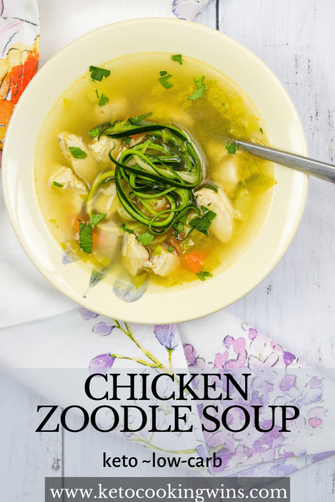 pinterest image for chicken zoodle soup