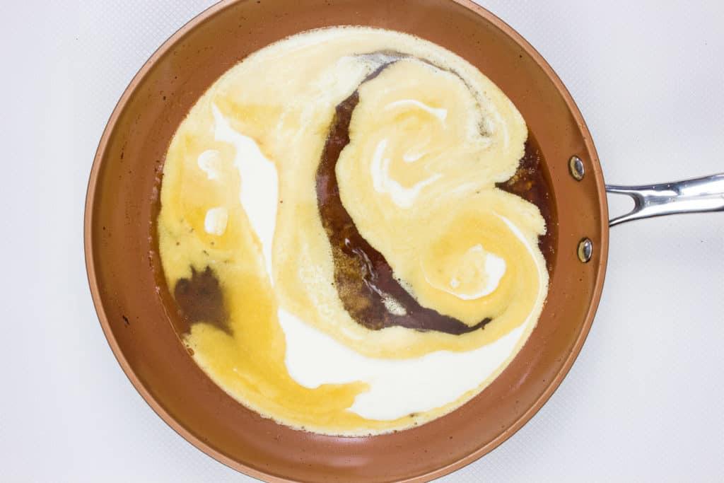 add broth and cream to make sauce